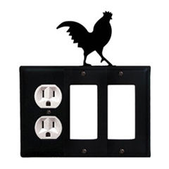 Wrought Iron Rooster Combination Cover - Single Left Outlet with Double Right GFI