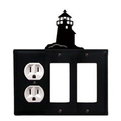 Wrought Iron Lighthouse Combination Cover - Single Left Outlet with Double Right GFI