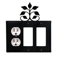 Wrought Iron Leaf Fan Combination Cover - Single Left Outlet with Double Right GFI