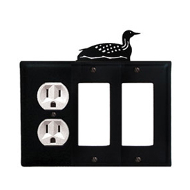 Wrought Iron Loon Combination Cover - Single Left Outlet with Double Right GFI