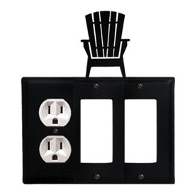 Wrought Iron Adirondack Combination Cover - Single Left Outlet with Double Right GFI