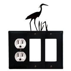 Wrought Iron Heron Combination Cover - Single Left Outlet with Double Right GFI