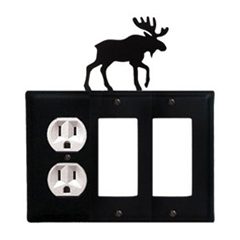 Wrought Iron Moose Combination Cover - Single Left Outlet with Double Right GFI