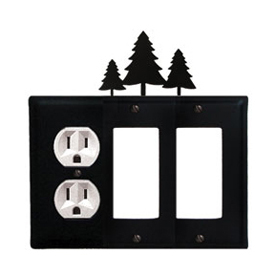 Wrought Iron Pine Trees Combination Cover - Single Left Outlet with Double Right GFI