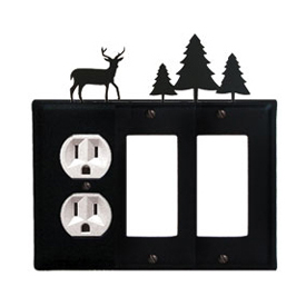 Wrought Iron Deer Combination Cover - Single Left Outlet with Double Right GFI Pine Trees