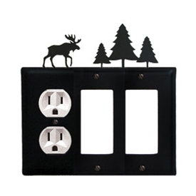 Wrought Iron Moose Combination Cover - Single Left Outlet with Double Right GFI Pine Trees