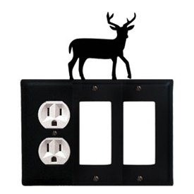 Wrought Iron Deer Combination Cover - Single Left Outlet with Double Right GFI