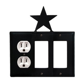 Wrought Iron Star Combination Cover - Single Left Outlet with Double Right GFI