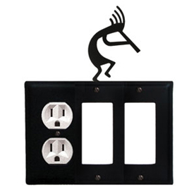 Wrought Iron Kokopelli Combination Cover - Single Left Outlet with Double Right GFI
