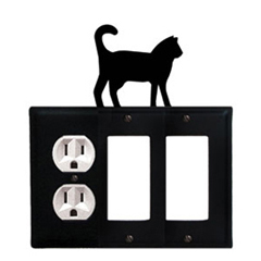 Wrought Iron Cat Combination Cover - Single Left Outlet with Double Right GFI