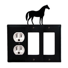 Wrought Iron Horse Combination Cover - Single Left Outlet with Double Right GFI