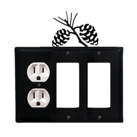 Wrought Iron Pinecone Combination Cover - Single Left Outlet with Double Right GFI