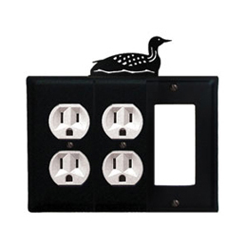 Wrought Iron Loon Combination Cover - Double Outlets with Single GFI