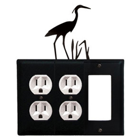 Wrought Iron Heron Combination Cover - Double Outlets with Single GFI
