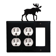 Wrought Iron Moose Combination Cover - Double Outlets with Single GFI