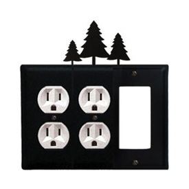Wrought Iron Pine Trees Combination Cover - Double Outlets with Single GFI