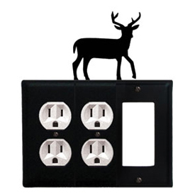 Wrought Iron Deer Combination Cover - Double Outlets with Single GFI
