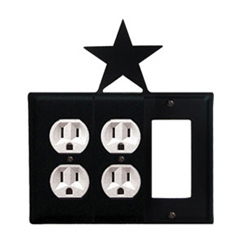 Wrought Iron Star Combination Cover - Double Outlets with Single GFI