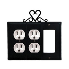 Wrought Iron Heart Combination Cover - Double Outlets with Single GFI