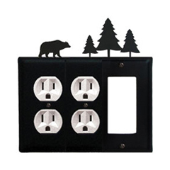 Wrought Iron Bear Combination Cover - Double Outlets with Single GFI Pine Trees