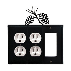 Wrought Iron Pinecone Combination Cover - Double Outlets with Single GFI