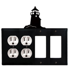 Wrought Iron Lighthouse Combination Cover - Double Outlets with Double GFI