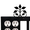 Wrought Iron Leaf Fan Combination Cover - Double Outlets with Double GFI
