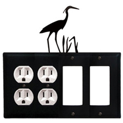 Wrought Iron Heron Combination Cover - Double Outlets with Double GFI