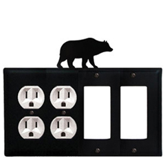 Wrought Iron Bear Combination Cover - Double Outlets with Double GFI
