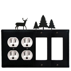 Wrought Iron Deer Combination Cover - Double Outlets with Double GFI Pine Trees