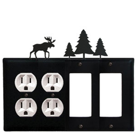 Wrought Iron Moose Combination Cover - Double Outlets with Double GFI Pine Trees