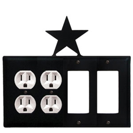 Wrought Iron Star Combination Cover - Double Outlets with Double GFI