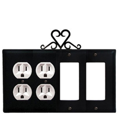 Wrought Iron Heart Combination Cover - Double Outlets with Double GFI