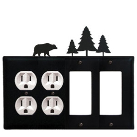 Wrought Iron Bear Combination Cover - Double Outlets with Double GFI Pine Trees