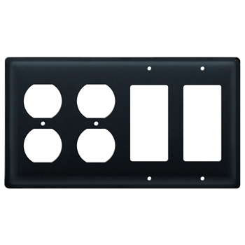 Pictured here is the plain black combination cover with double outlets and double GFI electrical configuration.