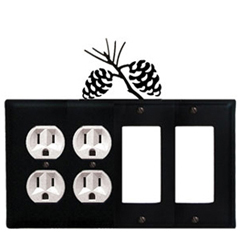 Wrought Iron Pinecone Combination Cover - Double Outlets with Double GFI