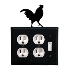 Wrought Iron Rooster Combination Cover - Double Outlet with Single Switch