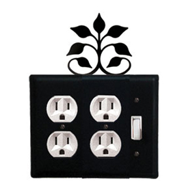 Wrought Iron Leaf Fan Double Outlet with Single Switch Combination Cover