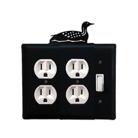 Wrought Iron Loon Double Outlet with Single Switch Combination Cover