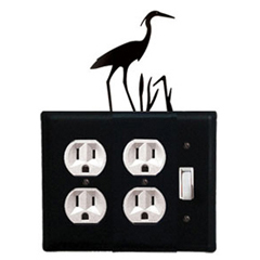 Wrought Iron Heron Double Outlet with Single Switch Combination Cover