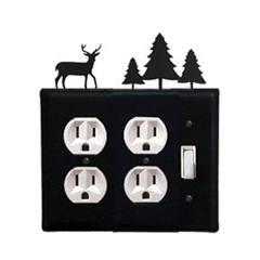 Wrought Iron Deer Double Outlet with Single Switch Combination Cover Pine Trees