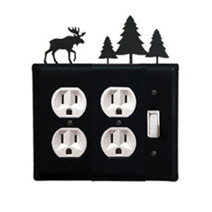 Wrought Iron Moose Double Outlet with Single Switch Combination Cover Pine Trees