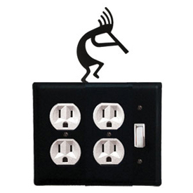Wrought Iron Kokopelli Double Outlet with Single Switch Combination Cover