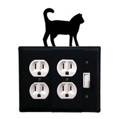 Wrought Iron Cat Double Outlet with Single Switch Combination Cover