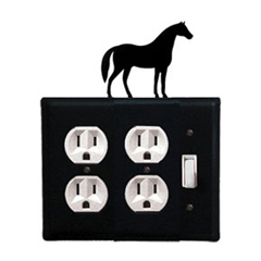 Wrought Iron Horse Double Outlet with Single Switch Combination Cover