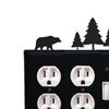 Wrought Iron Bear Double Outlet with Single Switch Combination Cover Pine Trees