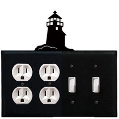 Wrought Iron Lighthouse Combination Cover - Double Outlet with Double Switch
