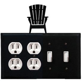 Wrought Iron Adirondack Combination Cover - Double Outlet with Double Switch