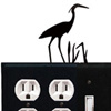 Wrought Iron Heron Combination Cover - Double Outlet with Double Switch