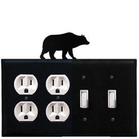 Wrought Iron Bear Combination Cover - Double Outlet with Double Switch